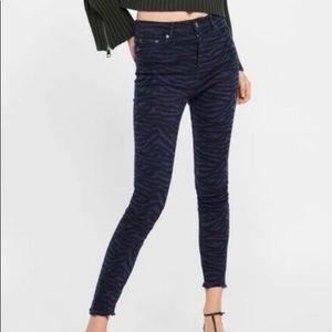 Zara High Rise Black Zebra Print Jeans size 6